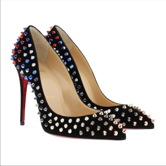 2f8f04266f8 Christian Louboutin Follies Spike 100 Suede Pump